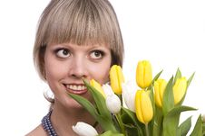 Free Woman With Flowers. Stock Photography - 13630912
