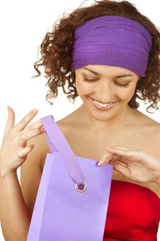 Free Happy Woman With  Packages Royalty Free Stock Image - 13630936