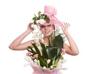 Fashion Woman Is Bunch Of Flowers. Stock Photos