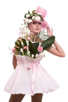 Fashion Woman Is Bunch Of Flowers. Stock Photo