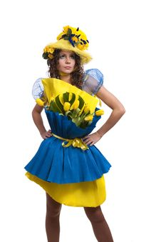 Free Fashion Woman Is Bunch Of Flowers. Royalty Free Stock Photos - 13631128