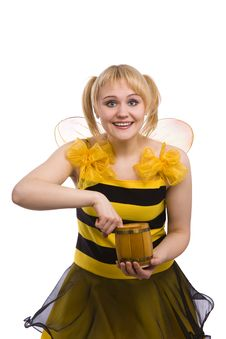 Free Bee Costumes Woman Is Eating Honey. Stock Images - 13631164