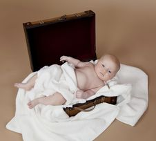 Free Baby In The Suitcase Stock Images - 13631304