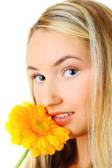 Free Young Woman With A Flower Royalty Free Stock Photo - 13632235
