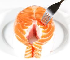 Free Salmon Slices Pricked With A Fork Royalty Free Stock Photo - 13632265