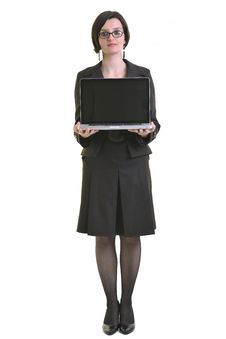 Business Woman Working On Laptop Isolated On White Royalty Free Stock Image