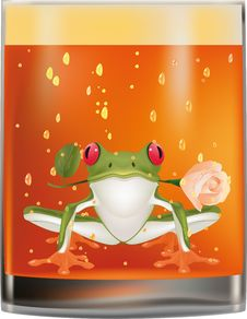 Free Frog And A Glass Of Old Whiskey Royalty Free Stock Image - 13634096