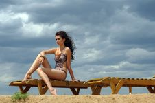 Free Girl On A Beach Stock Image - 13634631