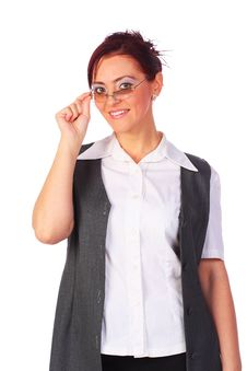 Businesswoman With Eyeglasses Smiling, Isolated Stock Photos