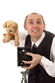 Free Photographer With Toy And Old Camera Royalty Free Stock Photo - 13635185