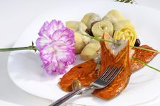 Free Taking Fish With Onions And Olives On Plate Stock Photography - 13635232