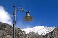 Particular Of A Lamp And Mountains Royalty Free Stock Images
