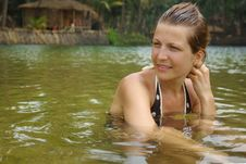 Attractive Woman In Tropical River Royalty Free Stock Photos