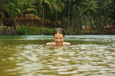 Attractive Woman In Tropical River Royalty Free Stock Image