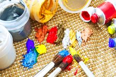 Paint And Paint Brushes Stock Image