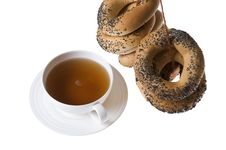 Cup Of Tea And Bagels Isolated Royalty Free Stock Photography