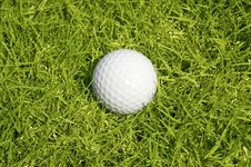 Free Golfing. A Ball On The Green Grass Background Stock Photos - 13638023