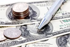 Free Coins, Dollars And Pen Stock Photography - 13638062