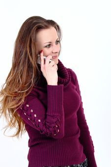 The Attractive Woman Talks By A Mobile Phone Stock Photo