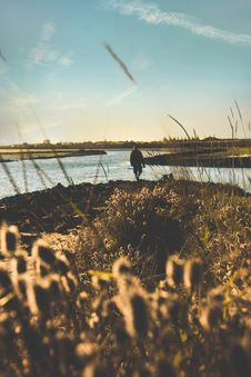 Free Person Walking Near Body Of Water Stock Photo - 136346510