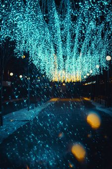 Free Teal String Light By The Sidewalk Stock Image - 136346541