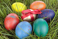 Free Colored Easter  Eggs On Grass Over White Royalty Free Stock Photo - 13640705