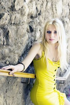 Free Girl In A Yellow Royalty Free Stock Image - 13640046