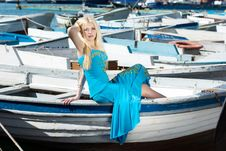 Free Girl In A Blue Royalty Free Stock Photos - 13640068
