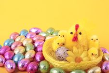 Free Easter Eggs And  Over Yellow Royalty Free Stock Photos - 13640468