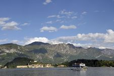 Ferry Approaching Bellagio On Lake Como Stock Photo