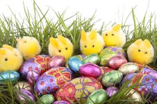 Easter Bunnies And Egg  Over White Royalty Free Stock Photo