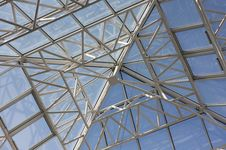 Contemporary Roof Structure With Glass Stock Image