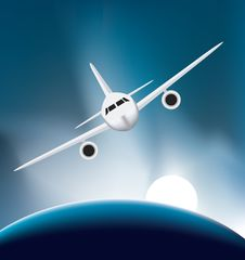 Airplane Soaring Above The Earth Stock Image