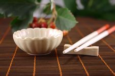 Free China Cup And Red Chopstick Stock Photos - 13641893