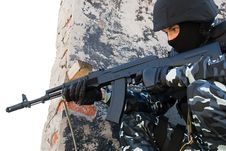 Soldier With Automatic Russian AK47 Rifle Royalty Free Stock Photography