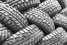 Free Backgorund Of Many Black Rubber Tyres Royalty Free Stock Photo - 13643835