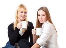 Free Two Teenage Girls Is Drinking Tea Stock Photos - 13646033