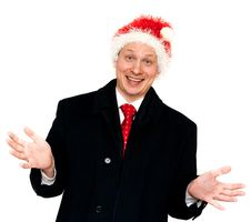 Man In Suit And Red Tie In Hat Santa Stock Image
