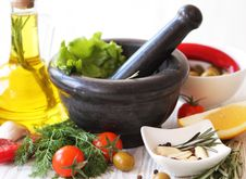 Still Life With Olive Oil And Vegetables Stock Images