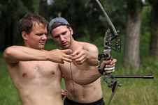 Free Two Male Archers At Practice Royalty Free Stock Photos - 13646808