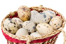 Quail Eggs In A Straw Basket Royalty Free Stock Photography