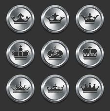Free Crown Icons On Metal Internet Buttons Stock Image - 13647751