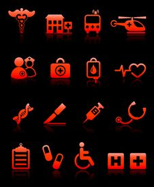 Hospital Emergency Icons Collection Royalty Free Stock Photography