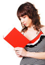 Free Lovely Brunette Reading A Red Book Stock Photos - 13653053