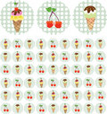 Free Bright Color Background With Ice-cream And Cherry Stock Photo - 13659490