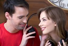 Free Young  Couple With Musical Ear-phones Royalty Free Stock Image - 13650056