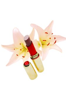 Lipstick With Flowers On Background Royalty Free Stock Photography