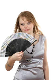 Making Look Younger Girl And Fan Royalty Free Stock Photography
