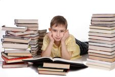 Free Young School Boy Reading Books Royalty Free Stock Photos - 13651038