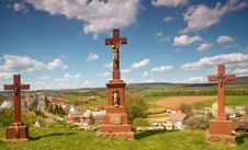 Free Crosses Above The Village Royalty Free Stock Photo - 13652515